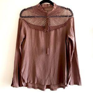 FREE PEOPLE rare crochet cage top blouse sz medium
